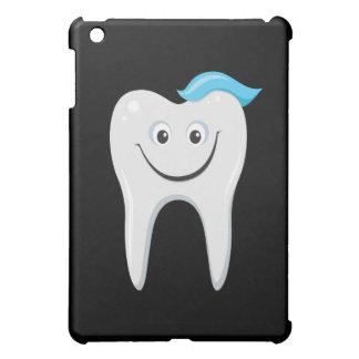 Happy cartoon tooth on black ipad case