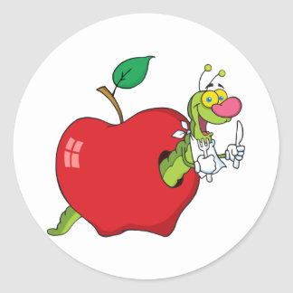 Happy Cartoon Worm In Apple Classic Round Sticker