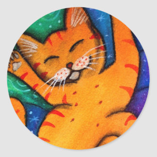 Happy Cat Classic Round Sticker