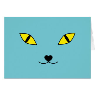 Happy cat face pillow card
