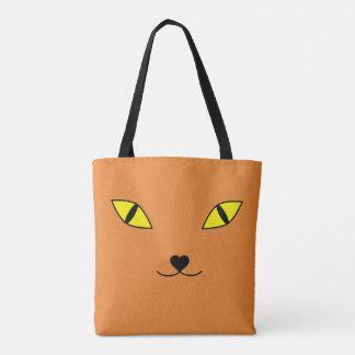 Happy cat face tote bag