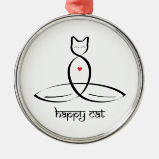 Happy Cat - Sanskrit style text. Silver-Colored Round Decoration