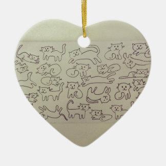 Happy Cats Ceramic Heart Decoration