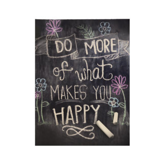 Happy Chalk Design Wood Poster