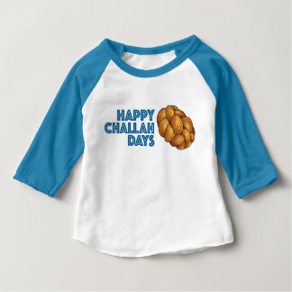 Happy Challah Days Blue Hanukkah Chanukah Bread Baby T-Shirt