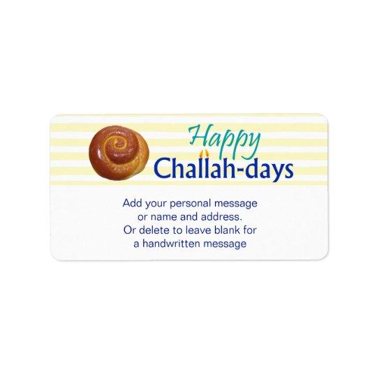 Happy Challah-days Gift Tag Address Label
