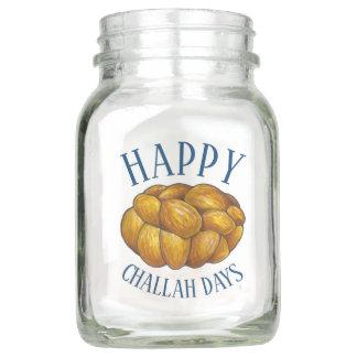 Happy Challah Days Jewish Holiday Hanukkah Bread Mason Jar