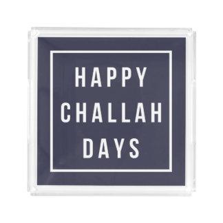 Happy Challah Days | Modern Navy & White Hanukkah Acrylic Tray