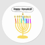 Happy Channukah Menora / Chanukia Round Sticker