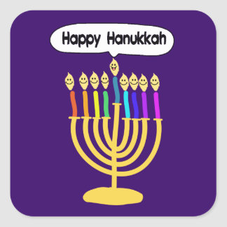 Happy Channukah Menora / Chanukia Square Sticker