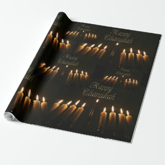 Happy Chanukah Hanukkah Lamp Menorah Lights Candle Wrapping Paper