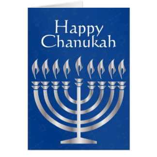 Happy Chanukah - Menorah in Silver 2 - Card