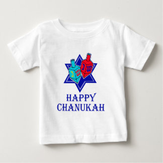 Happy Chanukah Star & Dreidel Baby T-Shirt