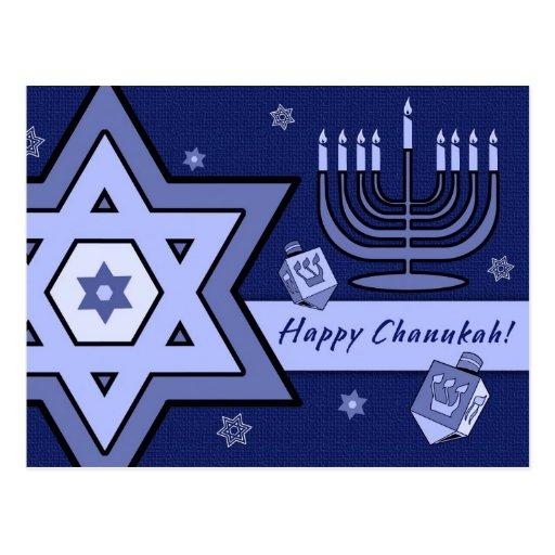 Happy Chanukah! Star of David and Menorah Design Postcards