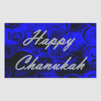 Happy Chanukah Swirls Rectangular Sticker