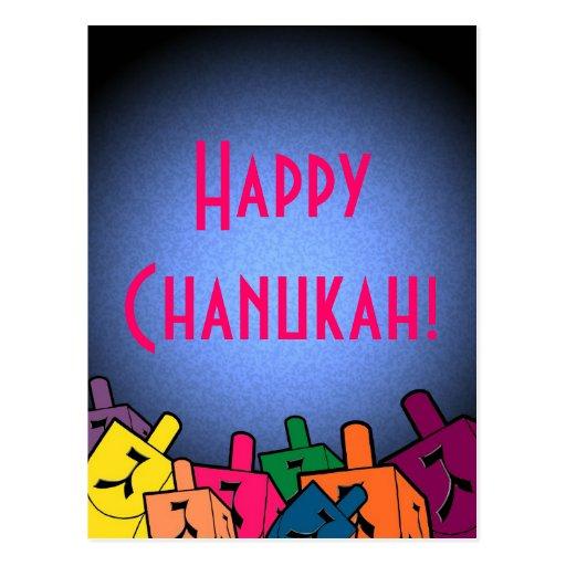 Happy Chanukah with dreidles Post Card
