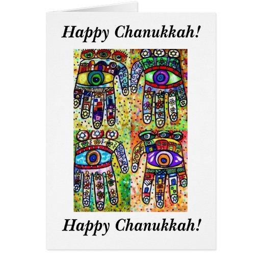 Happy Chanukkah - Batik Judaica Hamsas Card