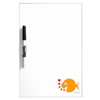 Happy Cheerful Cartoon Goldfish Blowing Kisses Dry Erase Board
