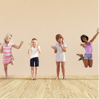 Happy Children in a Day Care or Daycare Center Photo Sculpture Decoration