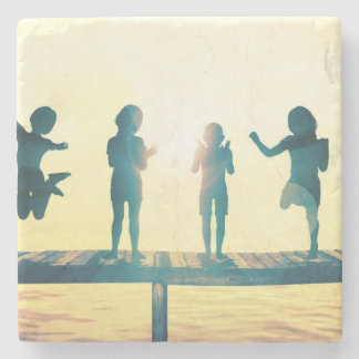 Happy Children Playing in the Park Illustration Stone Coaster