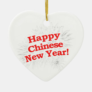 Happy Chinese New Year Design Ceramic Heart Decoration