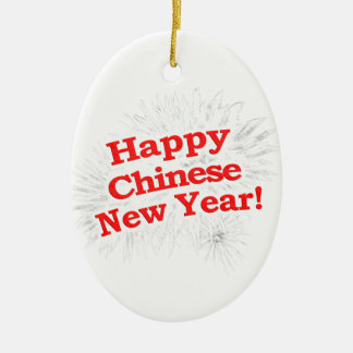 Happy Chinese New Year Design Ceramic Oval Decoration