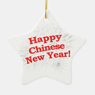 Happy Chinese New Year Design Ceramic Star Decoration
