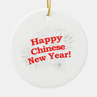 Happy Chinese New Year Design Round Ceramic Decoration
