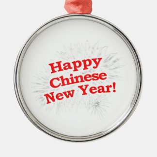 Happy Chinese New Year Design Silver-Colored Round Decoration
