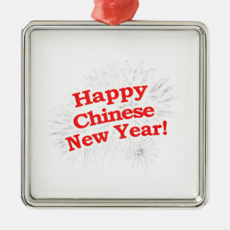 Happy Chinese New Year Design Silver-Colored Square Decoration