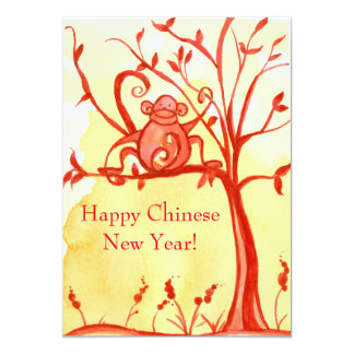 Happy Chinese New Year Of The Monkey Party 13 Cm X 18 Cm Invitation Card