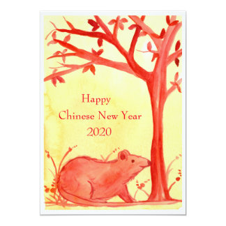 Happy Chinese New Year of the Rat Party 13 Cm X 18 Cm Invitation Card