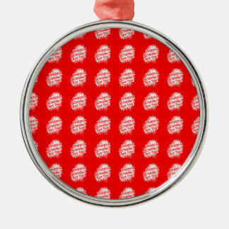 Happy Chinese New Year Pattern Silver-Colored Round Decoration