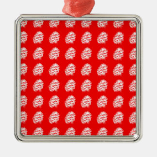 Happy Chinese New Year Pattern Silver-Colored Square Decoration