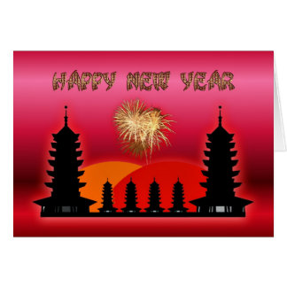 Happy Chinese New Year  Vietnamese New Year temple Greeting Cards