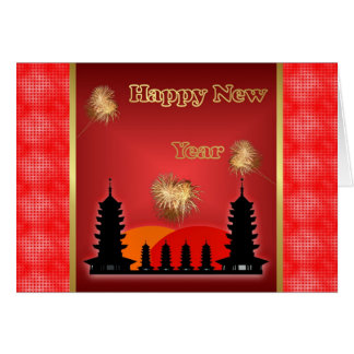 Happy Chinese New Year  Vietnamese New Year temple Greeting Card