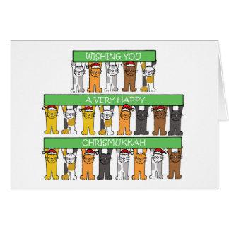 Happy Chrismukkah Cats Card