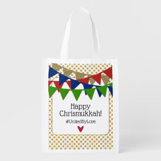 Happy Chrismukkah United by Love Reusable Grocery Bag