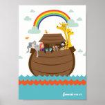 Happy Christian Kids Poster Bible Story Noah's Ark
