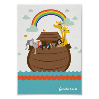 Happy Christian Kids Poster Bible Story Noah's Ark