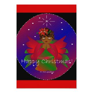 "Happy Christmas Angel Baby Girl Praying 5"" X 7"" Invitation Card"