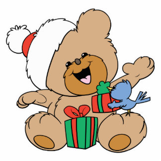 Happy Christmas Bear with Presents Standing Photo Sculpture