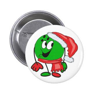 Happy christmas bowling ball wearing a santa cap 6 cm round badge