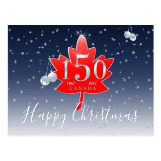 Happy Christmas Canada 150 Red Maple Leaf Stars Postcard