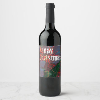Happy Christmas card Wine Label