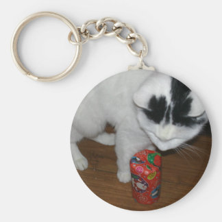 HAPPY CHRISTMAS CAT BASIC ROUND BUTTON KEY RING