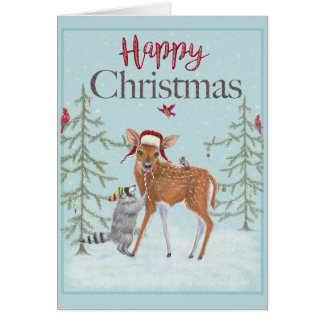 Happy Christmas Fawn and Raccoon Greeting Card