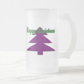 Happy Christmas Frosted Glass Beer Mug