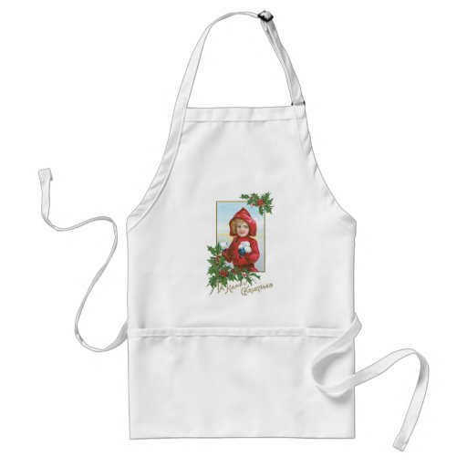 Happy Christmas Girl with Snowballs Apron