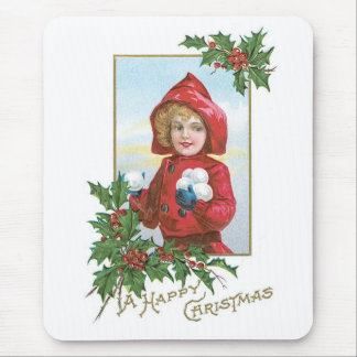 Happy Christmas Girl with Snowballs Mouse Pad